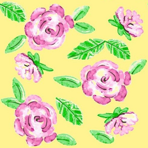 Shabby Pink Rose on Yellow  / Floral