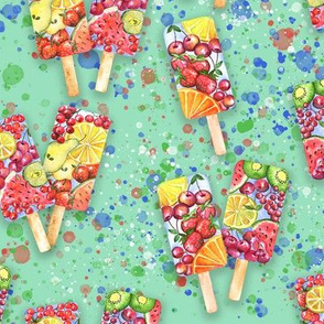 happy summer fruit ice-cream on green