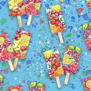 happy summer fruit ice-cream on blue