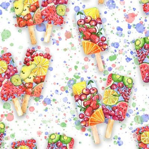 happy summer fruit ice-cream on white