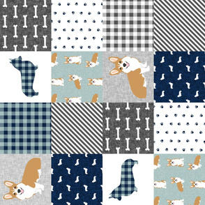 RR- corgi cheater quilt b dog breed corgis fabric
