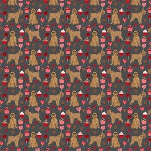 tiny- brussels griffon valentines fabric - dog love cupcakes hearts fabric brussels griffon - shadow