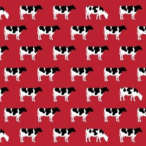 (extra small) cows on red - farm fabric C19BS