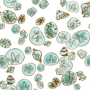 Powder Blue Seashells White