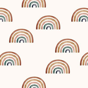 "2"" // Scattered Rainbow on ecru background earth tones"