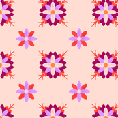 Mauve Geometric Flowers