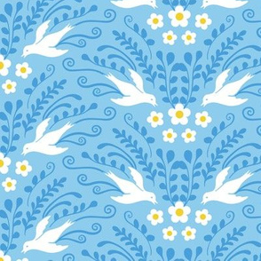 Decorative Birds and Blooms Baby Blue