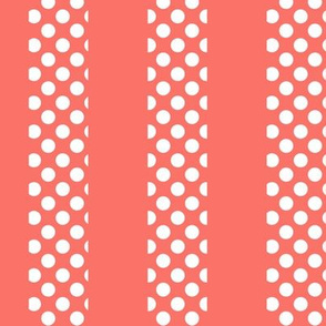 White Polka Dots on Coral Stripes
