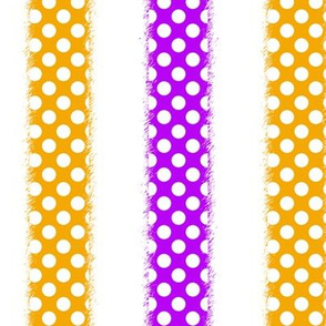 White Polka Dots on Yellow and Purple Stripes