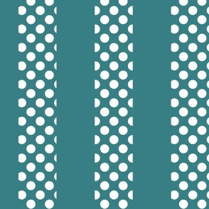 White Polka Dots on Teal Stripes