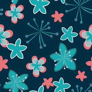 Happy spring flowers on navy