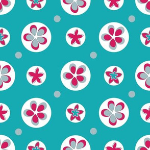 Flower circles with polka dots on teal