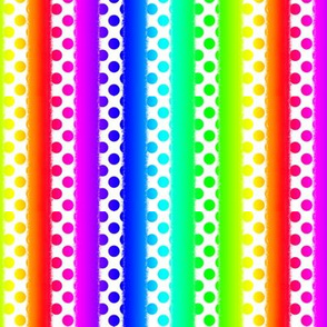 Rainbow Polka Dots on White Stripes