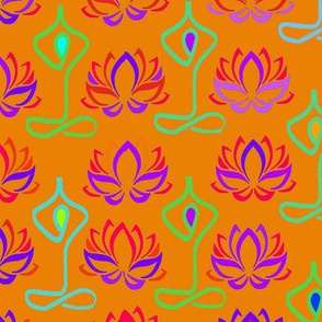 Lotus Flower Namaste Yoga Design -  Orange