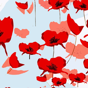Australian Poppies Blue Background54x36