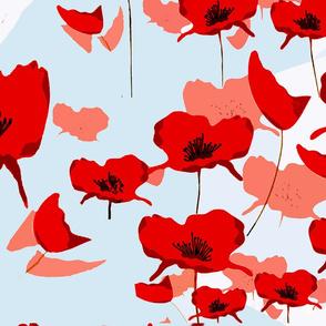 Australian Poppies Blue Background54x36