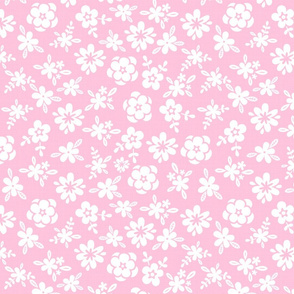 White Floral On Pink