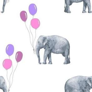 Elephant balloon pink white