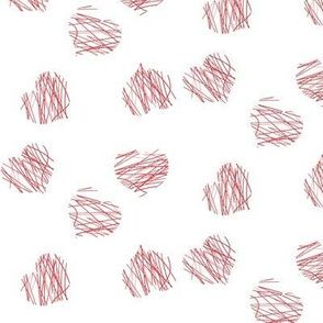 lines and hearts - white-red