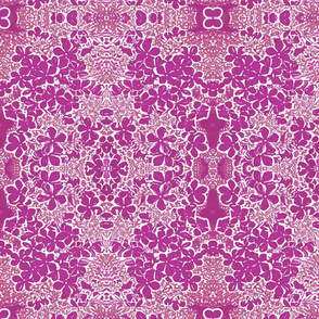 Magenta and White Lacy Floral Fractal Pattern