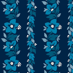 Hawaiian Tropical Floral Stripe - Indigo