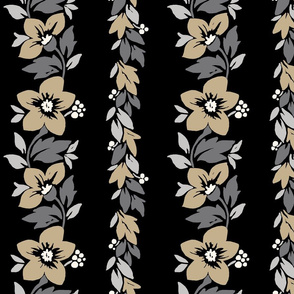 Hawaiian Tropical Floral Stripe - Neutral