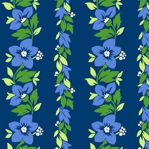 Hawaiian Tropical Floral Stripe - Blue