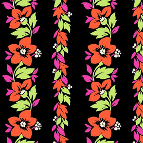 Hawaiian Tropical Floral Stripe - Coral and Black