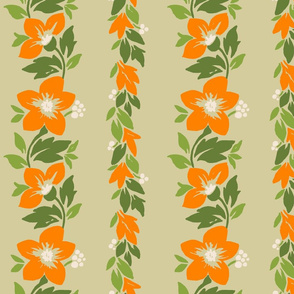 Hawaiian Tropical Floral Stripe - Khaki