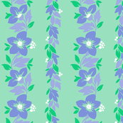 Hawaiian Tropical Floral Stripe - Mint
