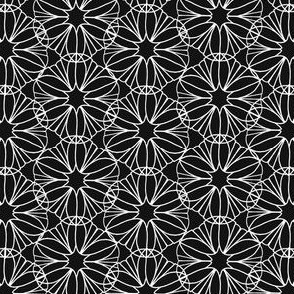 White Mandala Flowers on Black