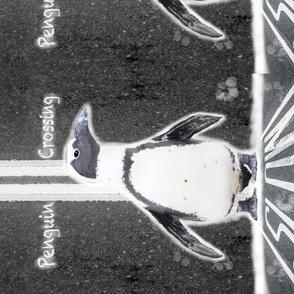 Penguin Crossing Slow Down Tea Towel
