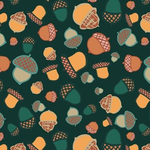 acorn woodland seamless repeat pattern design