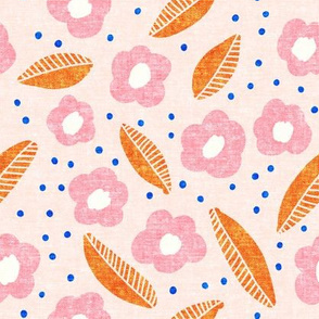 summer floral - pink with blue dots - LAD19