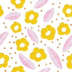 summer floral - yellow and pink - LAD19