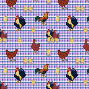 Gingham Chickens - Purple