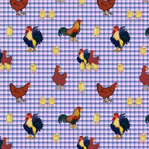 Gingham Chickens - Purple