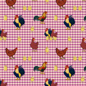 Gingham Chickens - Pink
