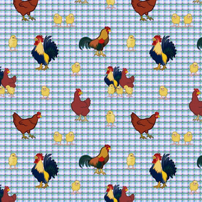 Gingham Chickens - Blue