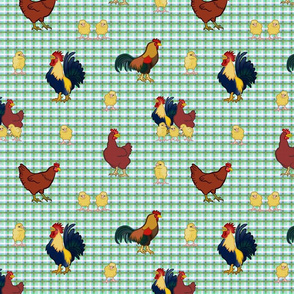 Gingham Chickens - Green