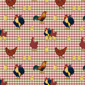 Gingham Chickens - yellow & red