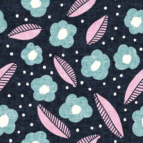 summer floral - blue - LAD19