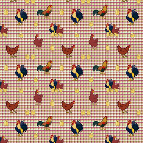 Gingham Chickens (small) - yellow & red