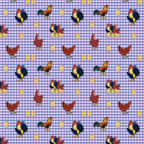 Gingham Chickens (small) - Purple