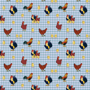 Gingham Chickens (small) - Blue