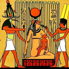 ancient egypt egyptian pharaoh gods goddess Isis Horus Thoth hieroglyphics ibis heads birds Ankh papyrus suckling mother son child life Amun Mut nursing breast feeding feathers horns sun Cobras snakes plants yellow orange brown crowns offerings royalty tr