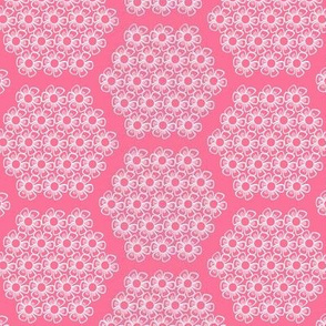 Pink and White Flower Hexagons for Nursery Crib Bedding