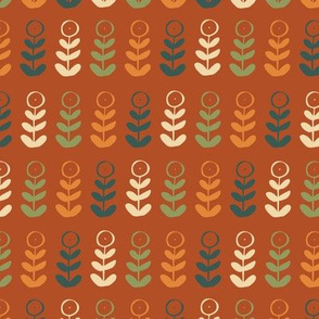 orange green blue red floral plant graphic seamless repeat pattern design