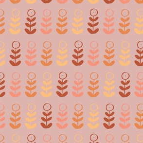 red pink orange yellow floral plant graphic seamless repeat pattern design