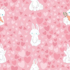 Cute Bunnies with Pink Hearts